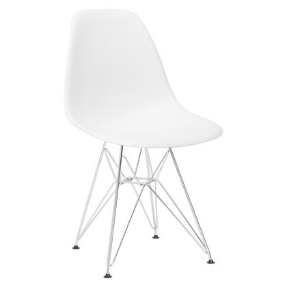 EdgeMod EM104CRMWHI Padget Series Modern Metal Frame Dining Room Chair