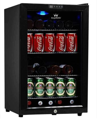 KingsBottle KBU68X 66 Can Compressor Mini Fridge with Built-in Digital Display for Easy Thermostat Monitoring, Interior Blue LED Lighting, Metal Trimmed Glass Door and Adjustable Chrome Shelf in