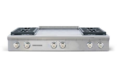 "American Range AROBSCT4482GD 48"" Performer Series Slide-In Gas Rangetop with 4 Open Burners, 22"" Griddle, Automatic Electronic Ignition and Commercial Grade Cast Iron Grates in Stainless Steel:"