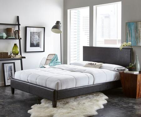 Rest Rite HC88X4A3 Double Size Faux Leather Upholstered Platform Bed with Contemporary Style and Tapered Legs in