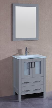 "Bosconi AGR124EWGUX XX"" Single Vanity with Clear Tempered Glass Top, Integrated Sink, F-S01 Faucet, Mirror, 2 Doors and X Drawers in Grey"