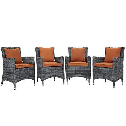 Modway Summon Collection 4 PC Outdoor Patio Dining Set with Sunbrella  Fabric, Synthetic Rattan Weave, Powder Coated Aluminum Frame, Water & UV Resistant in