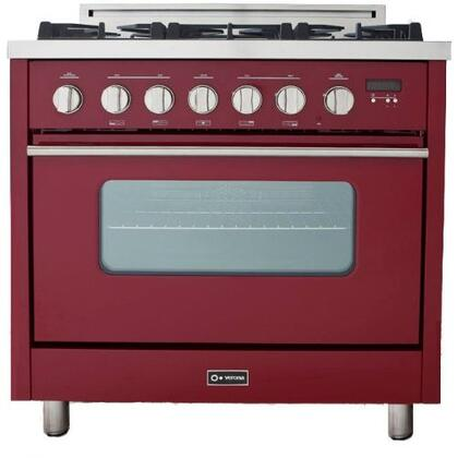 Verona VEFSGGL65R Pro Series Gas Freestanding Range with Sealed Burner Cooktop, 3.6 cu. ft. Primary Oven Capacity, in Red