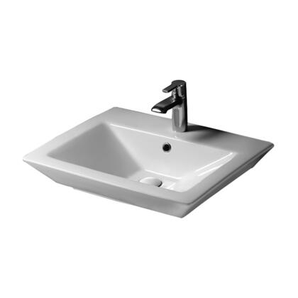 """Barclay 437W 23"""" Opulence Above Counter Basin  with Rectangular Bowl with in White"""