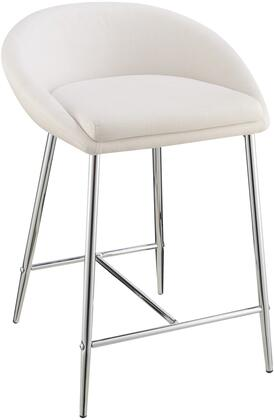 """Coaster Dining Chairs and Bar Stools Collection 29"""" Counter Height Bar Stool with Low Back, Chrome Legs, Metal Construction and Fabric Upholstery in"""
