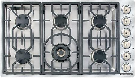"""American Range ARDCT366 36"""" Vitesse Cooktop with 6 Sealed Burners, 500 BTU's Simmer Setting, Brass Burner Heads, Porcelain Burner Caps, Automatic Electronic Ignition and Die-Cast Black Satin Knobs, in Stainless Steel"""