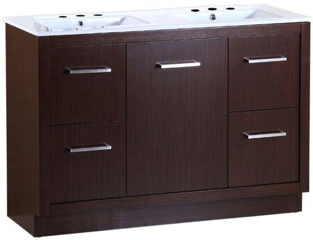 "Bellaterra Home 502001A48 48"" Sink Vanity in Wenge Finish and Ceramic Top"