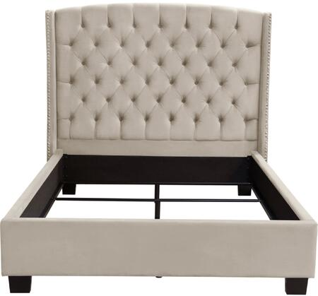 Diamond Sofa Majestic Collection Sleigh Bed with Nail Head Wing Accents, Button Tufted Headboard, Low Profile and Plush Velvet Upholstery in Tan Color