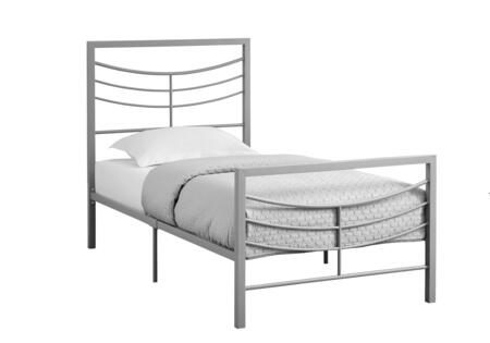 Monarch I264BED Bed with Horizontal Headboard & Footboard Slats and Meta Frame in
