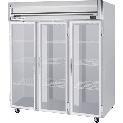 "Beverage-Air HR3-1 78"" Horizon Series Three Section [Solid Door] Reach-In Refrigerator, 74 cu.ft. capacity, Stainless Steel Front, Gray Painted Sides, Aluminum Interior"
