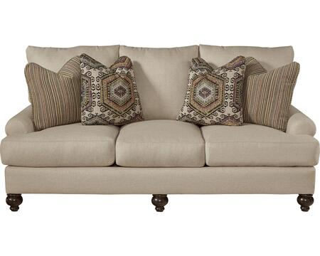 "Jackson Furniture Westchester Collection 3232-03- 85"" Sofa with Turned Legs, Four Throw Pillows and Recessed Rolled Arms in"