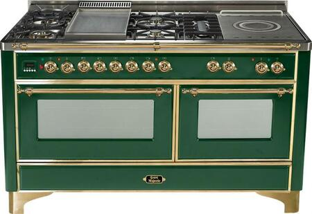 Ilve UM150FSMPVS Majestic Series Dual Fuel Freestanding Range with Sealed Burner Cooktop, 2.8 cu. ft. Primary Oven Capacity, Warming in Green