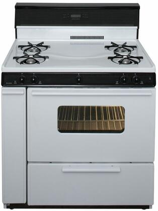 """Premier SLK240  36"""" Electronic Spark Gas Range with 3.9 Cu. Ft. Capacity, Four Cooktop Burners, 10"""" Tempered Black Glass with Clock/Timer, Lift Up Top and Windowed Oven Door with Interior Oven Light"""
