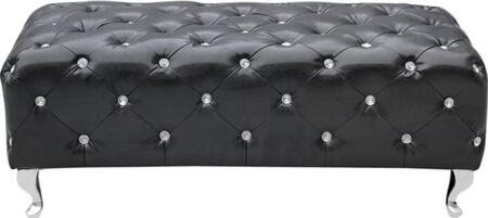 Fine Mod Imports FMI10072BLACK Accent Armless Wood Faux Leather Bench