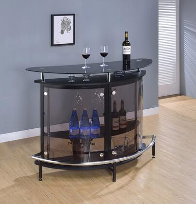 "Coaster Bar Units and Bar Tables 50.75"" Bar Unit with Smoked Acrylic Front, Tempered Glass Top, Large Glass Shelves, Stemware Rack and Metal Frame"