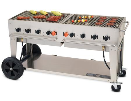"Crown Verity CV-MCB-60XX 69"" Wide Mobile Grill with 129,000 BTU/H, 8 Burners, 58"" Cooking Surface, Two Wheels, Two Lock Casters and Storage Shelf in Stainless Steel"