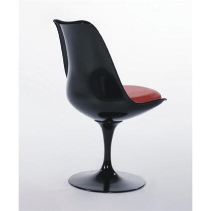 Fine Mod Imports FMI1139BLACKRED Flower Series Dining Material: Sueded Molded Fiberglass Frame Accent Chair