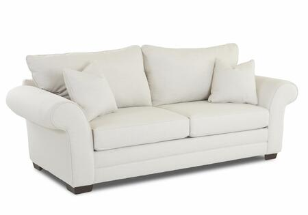 "Klaussner Holly Collection E76900-SC- 93"" Sofa with Rolled Arms, Block Feet, Two Arm Pillows and Fabric Upholstery in"