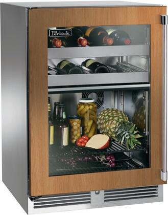 """Perlick HP24CS34x 24"""" Signature Series Indoor Compact Refrigerator with Rapidcool Forced Air Refrigeration System, 995 BTU Commercial Grade Speed Compressor and Stainless Steel Interior, in Glass Door Panel Ready with"""