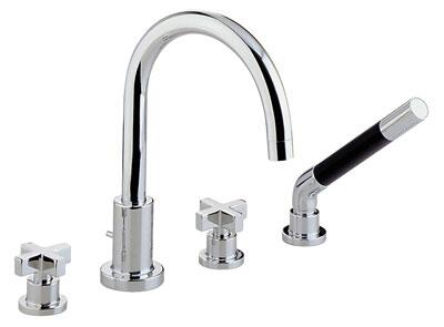 Rohl BA26X- Modern Collection 4-Hole Deck Mounted Bathtub Filler with Handshower, Cross Handles: