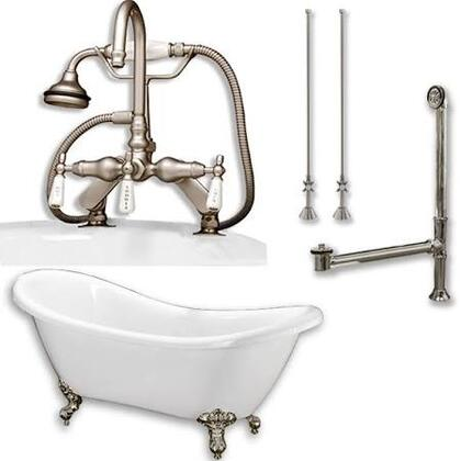 "Cambridge ADES684DPKGXX7DH Acrylic Double Ended Clawfoot Bathtub 68"" x 30"" with no Faucet Drillings and Complete Plumbing Package"