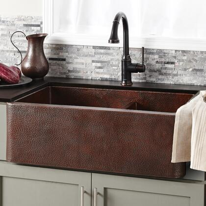 "Native Trails Copper Kitchen Sinks Collection Farmhouse Duet Kitchen Sink with 3.5"" Drain Opening, Double Bowl, 16 Gauge Hand Hammered and Recycled Copper Material in Antique Copper Finish"