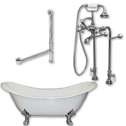 "Cambridge DES398463PKG Cast Iron Double Ended Slipper Tub 71"" x 30"" with No Faucet Drillings and Complete Free Standing British Telephone Faucet and Hand Held Shower Plumbing Package"