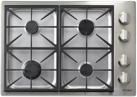 """Dacor DYCT304GS 30"""" Discovery Series Gas Cooktop with 4 Sealed Burners, Illumina Burner Controls, SimmerSear Burners, PermaClean Bead Blasted Finish, and Continuous Platform Grates: Stainless Steel"""