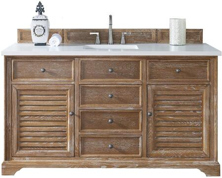 """James Martin Savannah Collection 238-104-5311- 60"""" Driftwood Single Vanity with Two Soft Closing Doors, Five Soft Closing Drawers, Antique Pewter Hardware and"""
