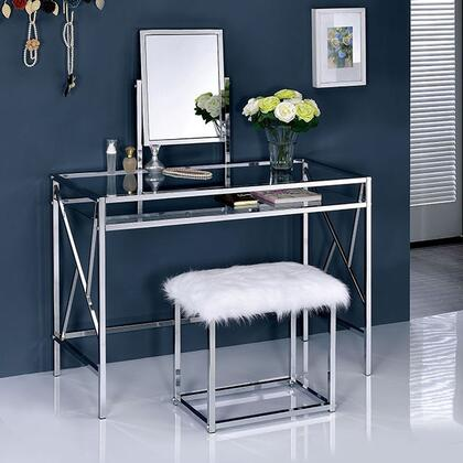 Furniture of america cmdk6707crm lismore series metal none for Furniture of america ailees contemporary glam 2 piece vanity table set with faux fur stool