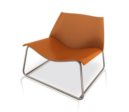 Modloft PTN214ASC0 Earl Series Leather Lounge with Metal Frame in Brown