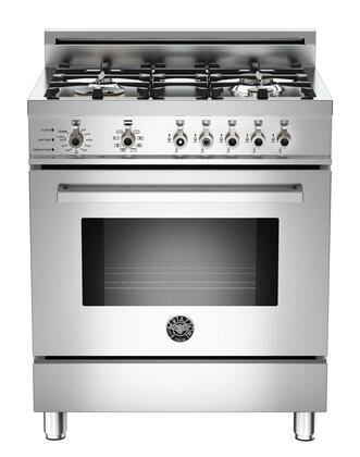 "Bertazzoni PRO304DFSXLP 30"" Professional Series Dual Fuel Freestanding Range with Sealed Burner Cooktop, 3.4 cu. ft. Primary Oven Capacity, in Stainless Steel"