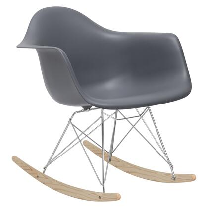 EdgeMod EM121GRY Rocker Series  Wood and Metal Frame Rocking Chair