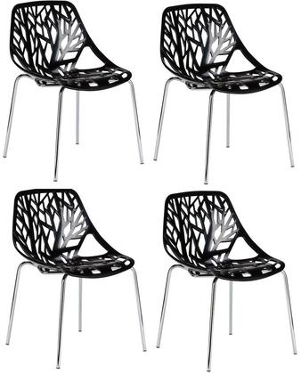 """EdgeMod Birds Nest Collection 21.5"""" Set of 4 Dining Side Chairs with Plastic Non-Marking Feet, Chrome Legs, Cut-Out Tree Design and Plastic Seat"""