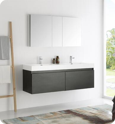 """Fresca Mezzo Collection FVN8041 60"""" Wall Hung Double Sink Modern Bathroom Vanity with Medicine Cabinet, Blum TANDEM Plus BLUMOTION Drawer System and Integrated Acrylic Countertop & Sink in"""