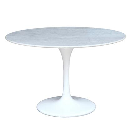 Fine Mod Imports FMI2020-X-WHITE Flower Marble Table In White