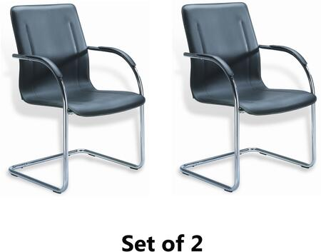 """Boss B9530 36"""" Mid-Back Guest Chair with Contoured Back, Chrome Frame, and Padded Foam on Seat and Back in Black Vinyl Upholstery"""