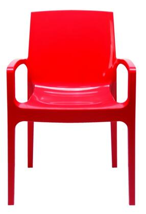 VIG Furniture VGIGCREAMRED Modrest Cream Series Modern Not Upholstered Polyblend Frame Dining Room Chair