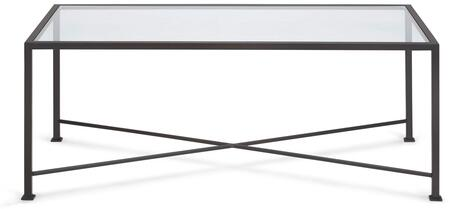 "Tag Diversey Collection 40"" Coffee Table with X-Shaped Cross Brace, Stacked Foot Design and Solid Steel Bar Powder Coated in Coco Brown Color"