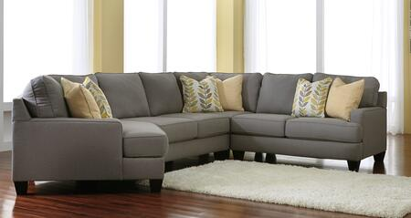 Signature Design by Ashley Chamberly 24302XCSEC4PC 4-Piece X Cuddler Sectional Sofa with Pillows Included, Track Arms and Tapered Feet in Alloy