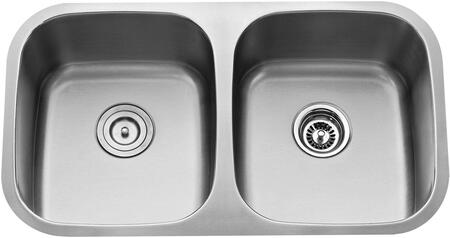 """Kraus KBU22KPF1622KSD30 Premier Series 33"""" Undermount 50/50 Double-Bowl Kitchen Sink with Stainless Steel Construction, Sound Insulation, and Included Pull-Down Kitchen Faucet"""