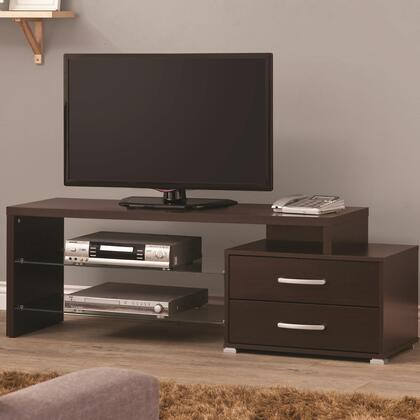 Coaster 70089x TV Console with Two Drawers, Two Tempered Glass Shelves and Brushed Silver Hardware in