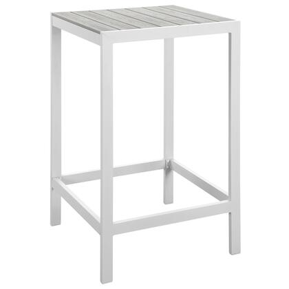 "Modway Maine Collection EEI-1511- 27"" Outdoor Patio Bar Table with Solid Wood Slat Top, Powder Coated Aluminum Frame and Plastic Base Glides in"