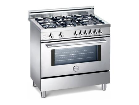Bertazzoni X365PIRXLP Professional Series Dual Fuel Freestanding Range with Sealed Burner Cooktop, 4 cu. ft. Primary Oven Capacity, Storage in Stainless Steel, LP