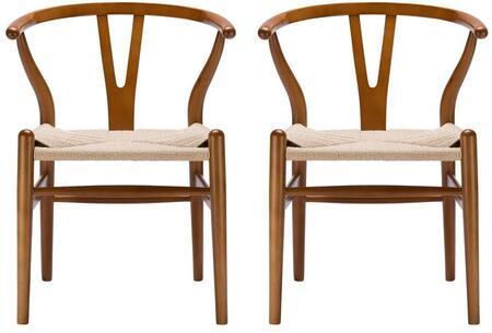 EdgeMod EM109WALX2 Weave Series  Wood Frame Dining Room Chair