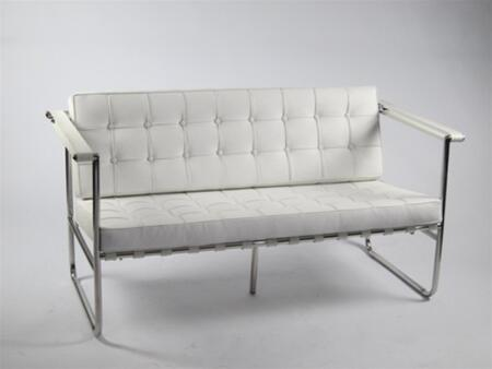 Fine Mod Imports FMI9248WHITE Celona Series Leather Stationary with Stainless Steel Frame Loveseat