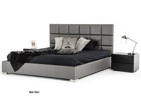 VIG Furniture VGKCGBK026-GRY Modrest Oliver Modern Dark Grey Leatherette Bed