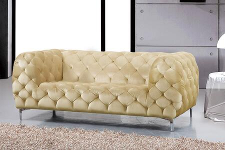 "Meridian Mercer 646-L 71"" Loveseat with Top Quality Velvet Upholstery, Tufting Detailing and Tuxedo Arms in"