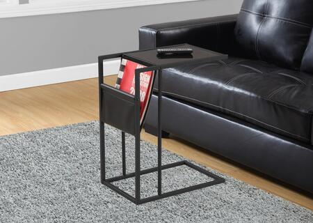 "Monarch I306X 24"" Accent Table with Tempered Glass Top, Magazine Holder and Contemporary Design"