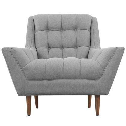 Modway EEI1786GRY Response Series Expectation Grey Fabric Armchair with Wood Frame